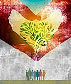 Hands forming heart shape money tree, illustration