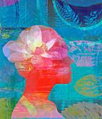 Lotus flower inside of woman's head, illustration