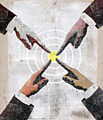 Four businessmen pointing to centre of target, illustration