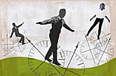 Business people balancing on compass wheels, illustration