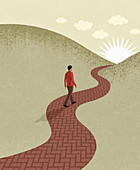 Young man walking on path towards sun, illustration