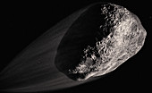 Close up of asteroid in space, illustration