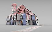 Detached house of cards, illustration