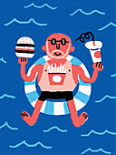 Man eating fast food on holiday, illustration