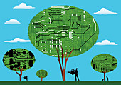 Men looking after circuit board trees, illustration