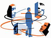 Businessman in network of relationships, illustration