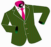 Small businessman in too large suit, illustration