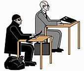 White collar criminal and burglar, illustration
