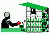 Man recruiting graduates using mechanical claw, illustration