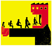Education system from school to work, illustration