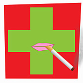 Lips smoking cigarette on pharmacy sign, illustration