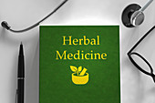Medical book about herbal medicine, illustration