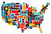 Pills and medicines forming map of the USA, illustration