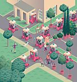 Driverless cars, illustration