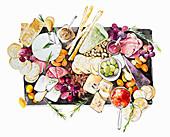 Antipasti slate sharing platter, illustration