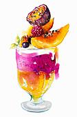 Fresh fruit trifle dessert, illustration