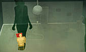 Woman watching man using the internet, illustration