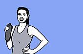 Woman taking break from exercising, illustration