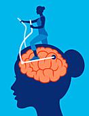 Exercising brain, conceptual illustration