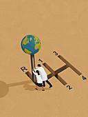 Reversing global warming, conceptual illustration