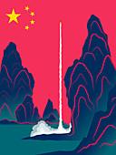 Chinese rocket launching, illustration