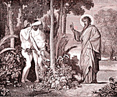God with Adam and Eve, 19th century illustration