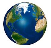 North Atlantic Ocean on an Earth globe, illustration