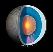 Ocean inside Saturn's moon Enceladus, illustration