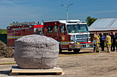 Firefighters burning world's largest ball of dryer lint, USA