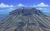 Mount Herthubreith volcano, illustration