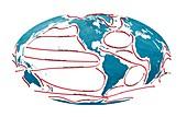 Global ocean currents, illustration