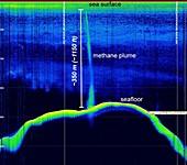 Methane plume in Atlantic Ocean in 2014, sonar image