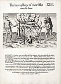 Carolina Algonquians cooking fish, 1580s