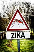Warning sign for zika mosquito bites