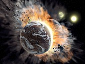 Exoplanet collision in binary star system, illustration