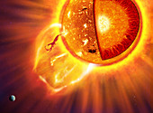 Internal and surface structure of the Sun, illustration