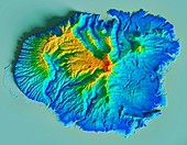 Hawaiian island of Kauai, LiDAR satellite image