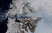 Jakobshavn Glacier in Greenland, satellite image