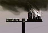 Ecological imbalance, conceptual illustration