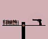 Guns and society, conceptual illustration