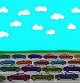 Lines of traffic moving in opposite directions, illustration