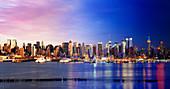 Day to night image of New York City, USA