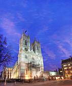 Westminster Abbey, London, UK, at dusk