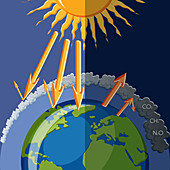 Natural and human enhanced greenhouse effect, illustration