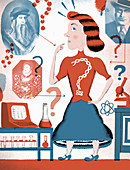 Woman wondering about her ancestry,illustration