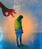 Hand untying trapped woman,illustration