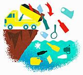 Truck tipping plastic rubbish into the sea,illustration