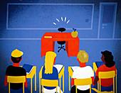 Absent teacher,illustration