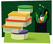 Reusable versus recyclable,illustration