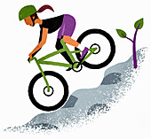 Woman mountain biking,illustration